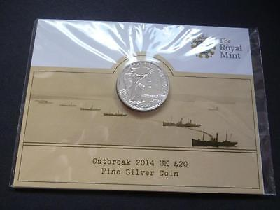 2014 Silver £20 Coin The Outbreak Of The First World War 2014 Twenty Pounds.