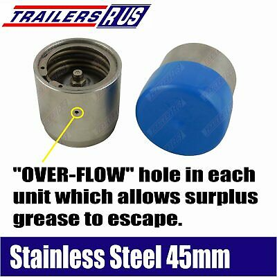 Stainless Steel Trailer Bearing Protectors 45mm Bearing Buddies 2pcs