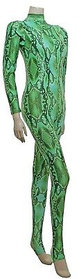 Catsuit Long Sleeves Polo Full Back Green Snake animal Print - (ELSA)