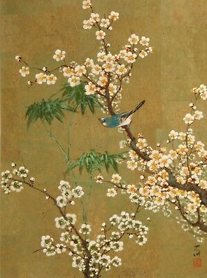 """CA020 Bird, prunus and bamboo 24""""x18"""" watercolour painting on cork faced paper"""