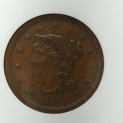 1856 1C Upright 5  Braided Hair large Cent XF40