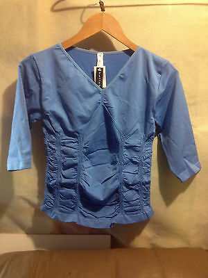 Bella B Wear Rouched V Neck Top - Blueberry  Bnwt Free Postage (A80)