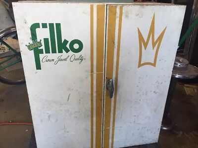 Vintage Filko Crown Jewel Quality Tune-Up Parts Tool Cabinet Metal Garage Shelf