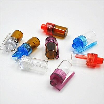 1pc Mini Small Glass Pill Box with Plastic Spoon Sniffer Jar Container