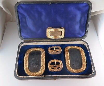 Antique Georgian Silver Gilt Shoe Buckles & Smaller Pin Elements - Fitted Case