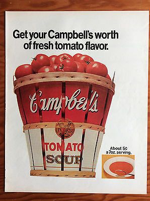 1970 CAMPBELL'S TOMATO SOUP Print Ad, Bushel of Tomatoes