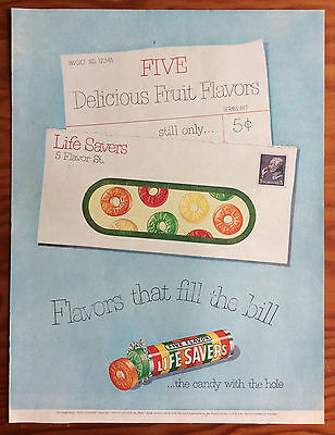 """1951 LIFESAVERS Print Ad, """"Flavors that fill the bill"""" envelope"""