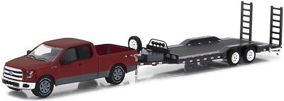 1/64 Greenlight Hitch & Tow 11 2015 Ford F-150 Pickup W/ Car Trailer