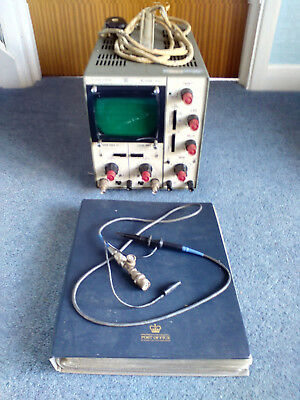 Telequipment Oscilloscope D52 circa 1967 with probe and copy of the user manual.