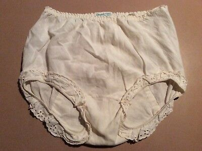 """THAT DOUBLE SEAT PANTY"" Vintage White COTTON LACE TRIM BLOOMERS Panties 6"