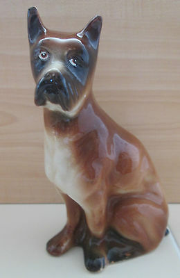 Handcrafted Ceramic Vintage Great Dane Boxer Dog Puppy Figure Statue Brazil 7""