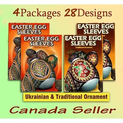 4 packages Traditional  Orthodox Easter Egg Sleeves Pysanka #57  Shrink Wraps