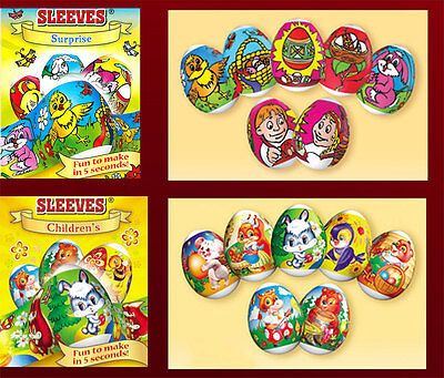 2 packages Easter Egg Sleeves Children's instant Pysanka Stickers  Shrink Wraps