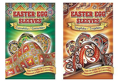 2 packages Easter Egg Sleeves Embroidery &Ancient instant Pysanka Stickers Wraps