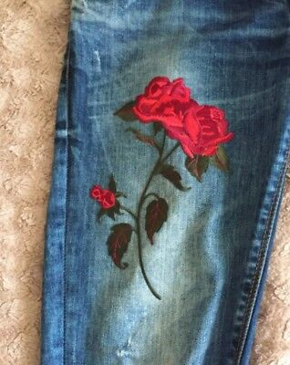 Rose Floral Embroidery Iron On applique patch 21cm UK