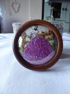 Vintage Hand Embroidered Picture  Miniature - Little Crinoline Lady Framed