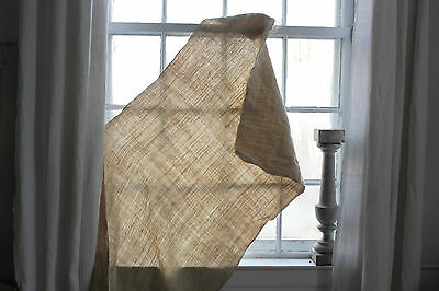 Vintage natural organic homespun fabric grain sack WASHED linen 5.7X 27 WIDE !!!