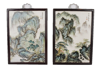 2 Vintage Framed Chinese Hand Painted Porcelain Plaques Waterfall Scene
