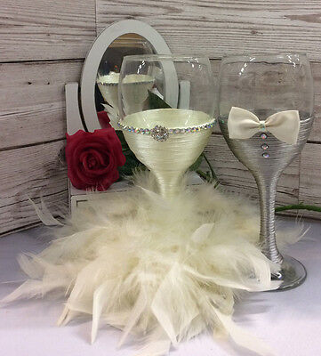 BRIDE and GROOM wine glass set Mr & Mrs Glasses Wedding Toast Ivory grey