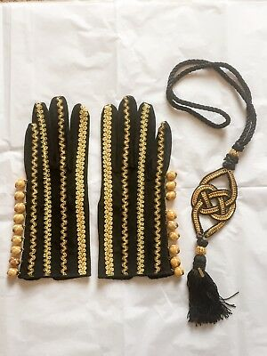 A Pair Of Yves Saint Laurent Gloves And Separate Matching YSL Necklace