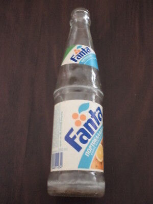 VTG FANTA BOTTLE 250ML FROM GREECE 1980s PAPER LABEL BLUE