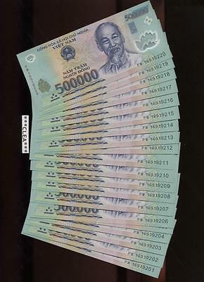 1.5 MILLION NEW CRISP VIETNAM DONG UNCIRCULATED SERIAL NUMBERED 3 x 500,000 VND