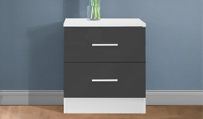 REFLECT 2 Drawer Bedside Table in Gloss Grey / Matt White - Bedroom Cabinet