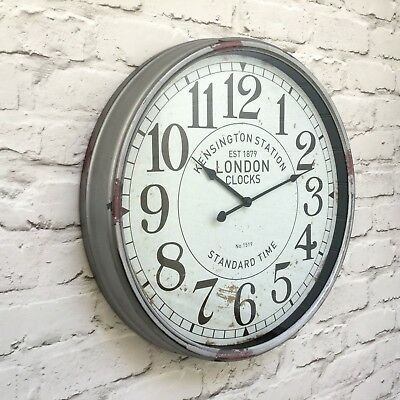 Extra Large Antique Vintage Style Kensington Station Wall Clock Railway 52Cm