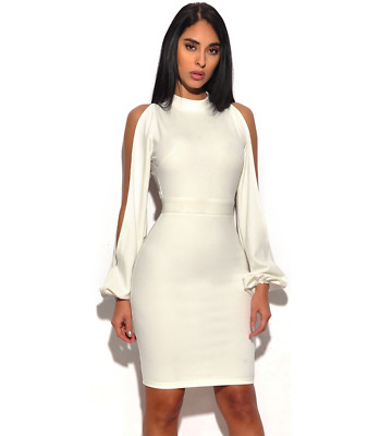 """Jade"" White Long Sleeve Cut Out Open Back Bandage Dress-L"