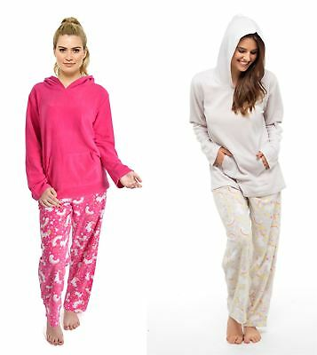 Ladies Unicorn Hooded Pyjamas, Fleece Top & Pants Set Nightwear, Size 8-18
