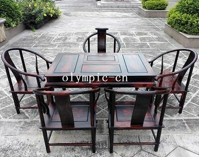 A set of rosewood handwork rectangle table  tea table desk and five chair