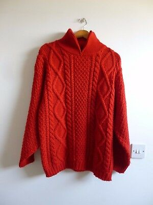 hand knitted vintage acrylic/wool red xmas/aran/cable  mans/unisex jumper S/M