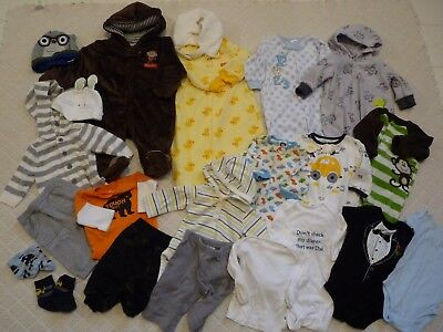 Huge 22 Piece Baby Boy Fall/winter Clothing Lot Size 0-3 Months Free Shipping!