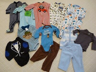 13 Piece Baby Boy Fall/winter Clothing Lot Size 3-6 Months Free Shipping!