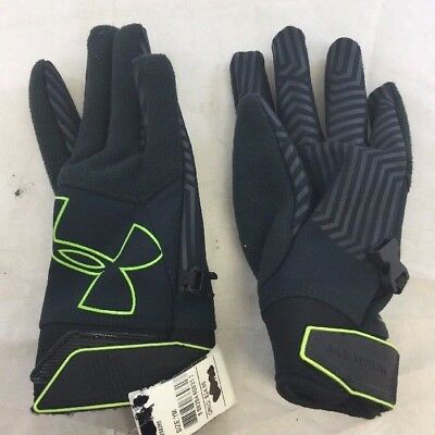 NWOT Under Armour Youth Storm Fleece Gloves Graphite/Green Sz: Youth M (BS)