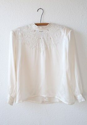 Vintage 80s floral embroidered SILK cream off white dress shirt TOP Blouse M