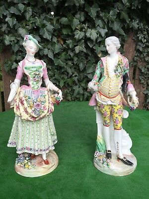 Stunning Large Antique 18th C. Meissen Figurines Lady and Gent, JJ Kandler c1760