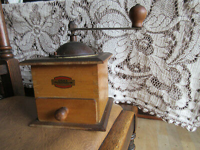 Vintage French Wooden Coffee Grinder by ODAX