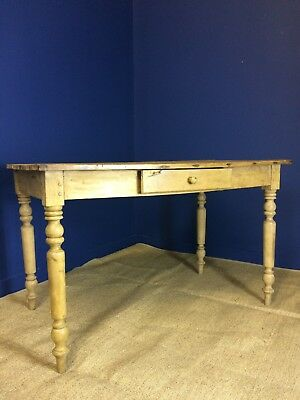 French Antique Stripped Pine Farmhouse Kitchen Table Rustic Shabby Chic