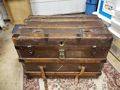 19th Century Late 1800's STEAMER TRUNK Leather Metal Wood Storage with Wheels
