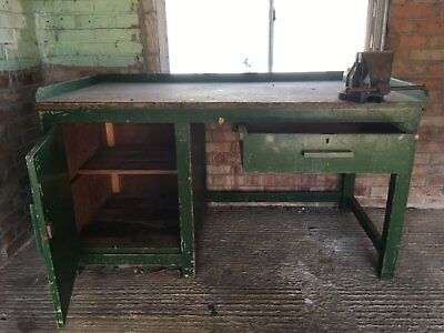 Vintage Wooden Industrial Workbench with Vice - Collection only Aylesbury