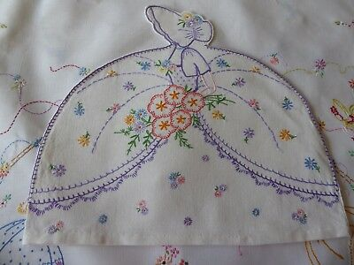 Vintage Hand Embroidered Tea Cosy/teapot Cover- Beautiful Crinoline Lady