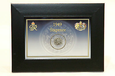 1949 British Lucky Sixpence Coin. Framed Birthday Gift Collectable. Sixpence.