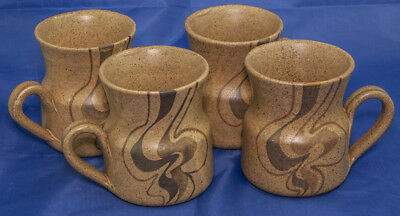 FOUR 1970's Larbert Pottery Scottish Mugs in the Clouds Pattern