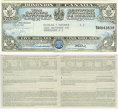 Dominion of Canada $5 War Savings Certificate, Six Uncirculated: SIngle or Lot