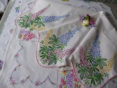 Vintage Hand Embroidered Linen Tablecloth= Beautiful Vibrant Embroidery