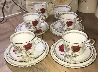 Stunning Vintage Royal Stafford Roses to Remember Bone China Tea Set 14 Pieces