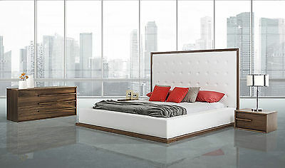 SONORA 4 pieces White & Brown Bedroom Set w/ King Faux Leather Headboard Bed NEW