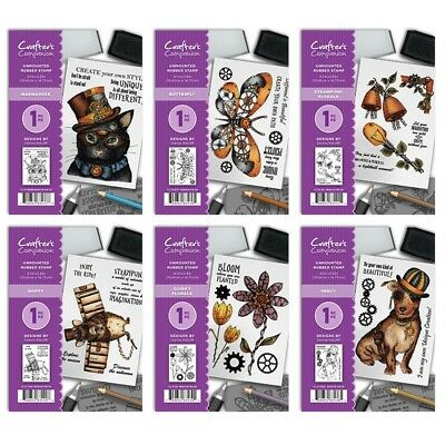 NEW Crafters Companion -STEAMPUNK ANIMALS A6 Stamps - FREE UK P&P