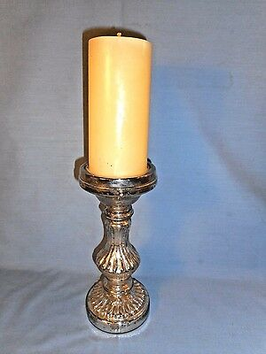 """Mercury Glass Candleholder with Candle 9.25"""" Tall X 3.75"""" Diameter-Candle 6""""Tall"""